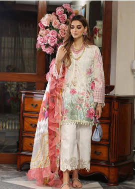 Crimson Embroidered Lawn Unstitched 3 Piece Suit CRM19L 9B - Spring / Summer Collection