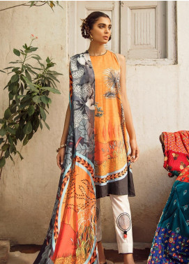 Cross Stitch Embroidered Cotton Satin Unstitched 3 Piece Suit CS19CS 1 Amber Monarch - Formal Collection