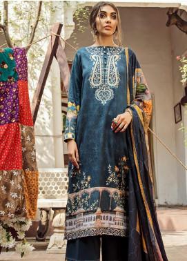Cross Stitch Embroidered Cotton Satin Unstitched 3 Piece Suit CS19CS 11 Lapis Lazuli - Formal Collection