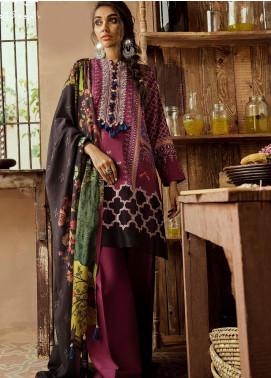 Cross Stitch Embroidered Cotton Satin Unstitched 3 Piece Suit CS19CS 12 Mulberry Crimson - Formal Collection