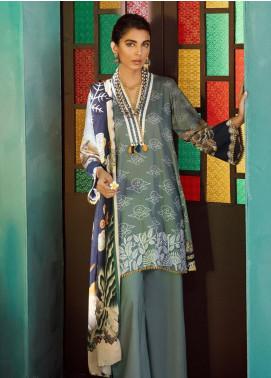 Cross Stitch Embroidered Cotton Satin Unstitched 3 Piece Suit CS19CS 14 Oriental Steam - Formal Collection