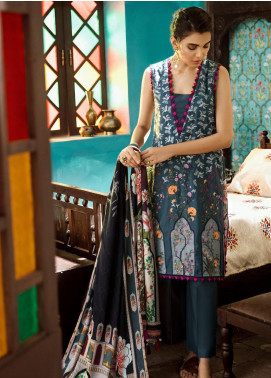 Cross Stitch Embroidered Cotton Satin Unstitched 3 Piece Suit CS19CS 16 Raven Floral - Formal Collection