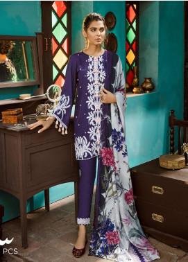 Cross Stitch Embroidered Cotton Satin Unstitched 3 Piece Suit CS19CS 18 Royal Violet - Formal Collection
