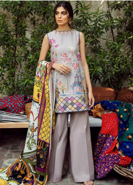 Cross Stitch Embroidered Cotton Satin Unstitched 3 Piece Suit CS19CS 19 Sakura Orchid - Formal Collection