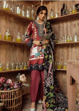Cross Stitch Embroidered Cotton Satin Unstitched 3 Piece Suit CS19CS 21 Scarlet Ruby - Formal Collection