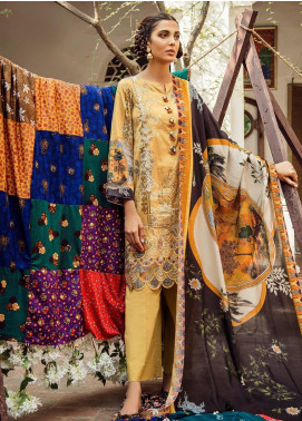 Cross Stitch Embroidered Cotton Satin Unstitched 3 Piece Suit CS19CS 24 Tuscan Sun - Formal Collection