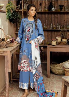 Cross Stitch Embroidered Cotton Satin Unstitched 3 Piece Suit CS19CS 3 Blue Diva - Formal Collection