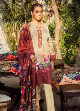Cross Stitch Embroidered Cotton Satin Unstitched 3 Piece Suit CS19CS 4 Cardinal Cherry - Formal Collection