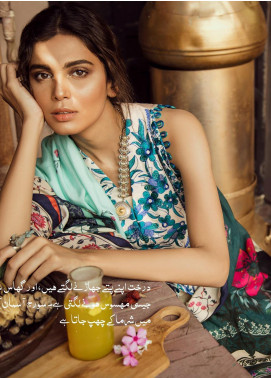 Cross Stitch Embroidered Cotton Satin Unstitched 3 Piece Suit CS19CS 5 Enchanted Garden - Formal Collection