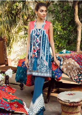 Cross Stitch Embroidered Cotton Satin Unstitched 2 Piece Suit CS19CS 7 Floral Spark - Formal Collection