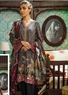 Cross Stitch Embroidered Cotton Satin Unstitched 3 Piece Suit CS19CS 8 Garnet Flora - Formal Collection
