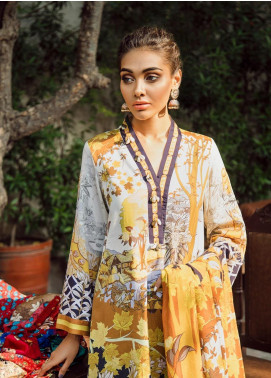 Cross Stitch Embroidered Cotton Satin Unstitched 3 Piece Suit CS19CS 9 Gold Sunset - Formal Collection