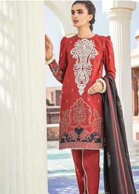 Dastaan by Cross Stitch Embroidered Khaddar Unstitched 3 Piece Suit CS20D 07 CORAL RUSH - Winter Collection