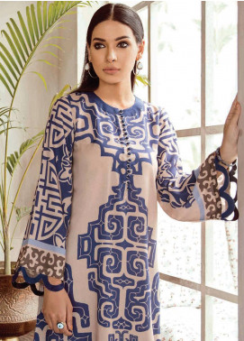 Cross Stitch Printed Linen Unstitched 2 Piece Suit CS18WL 12 Aynu Somber - Fall Winter Collection