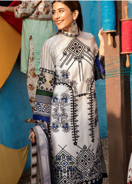 Cross Stitch Embroidered Lawn Unstitched 3 Piece Suit CS19L 07 Marina Palmet - Spring / Summer Collection