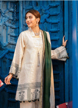 Cross Stitch Embroidered Jacquard Unstitched 3 Piece Suit CS19L 16 Antique White - Spring / Summer Collection