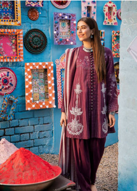 Cross Stitch Embroidered Jacquard Unstitched 3 Piece Suit CS19L 20 Grape Wine - Spring / Summer Collection