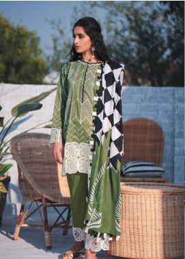 Cross Stitch Embroidered Lawn Unstitched 3 Piece Suit CS19-L2 11 INDIGO STRIA - Spring / Summer Collection