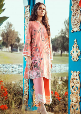 Cross Stitch Embroidered Lawn Unstitched 2 Piece Suit CS20L 04 Bask Impression - Summer Collection