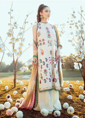 Cross Stitch Embroidered Lawn Unstitched 3 Piece Suit CS20L 09 Eden Moss - Summer Collection