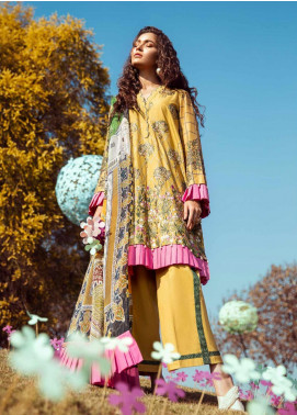 Cross Stitch Embroidered Lawn Unstitched 3 Piece Suit CS20L 12 Golden Apricot - Summer Collection