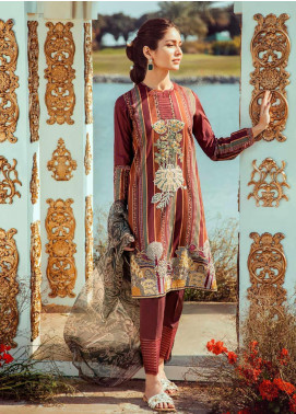 Cross Stitch Embroidered Lawn Unstitched 3 Piece Suit CS20L 17 Linear Scarlet - Summer Collection