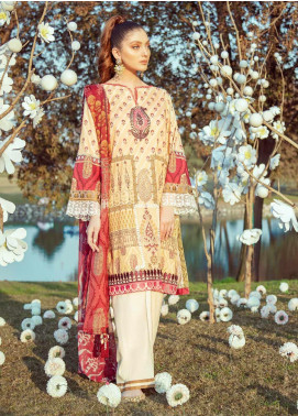 Cross Stitch Embroidered Lawn Unstitched 2 Piece Suit CS20L 20 Ochre Chime - Summer Collection