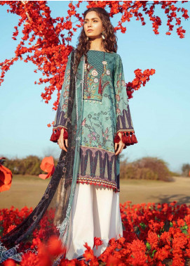 Cross Stitch Embroidered Lawn Unstitched 2 Piece Suit CS20L 27 Scalloped Orchid - Summer Collection
