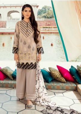 Cross Stitch Embroidered Jacquard Unstitched 3 Piece Suit CS19E 15 BARG-E-BAHAR - Eid Collection