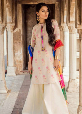 Cross Stitch Embroidered Jacquard Unstitched 3 Piece Suit CS19E 18 GUL-E-LALAH - Eid Collection