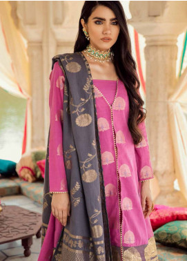 Cross Stitch Embroidered Jacquard Unstitched 3 Piece Suit CS19E 19 GUL AWAYZ - Eid Collection