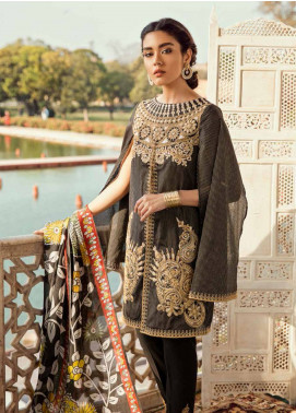 Cross Stitch Embroidered Cotton Unstitched 3 Piece Suit CS19E 20 CYPRESS CURRY - Eid Collection