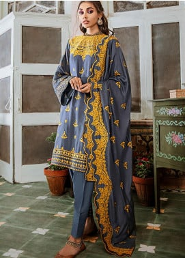 Mehak by Cross Stitch Embroidered Cotton Satin Unstitched 3 Piece Suit CS20M 04 Harbor Gray - Winter Collection
