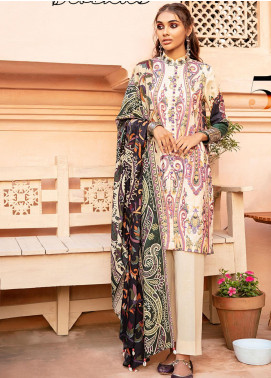 Mehak by Cross Stitch Embroidered Cotton Satin Unstitched 3 Piece Suit CS20M 05 Marzipan Brocade - Winter Collection