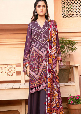 Mehak by Cross Stitch Embroidered Cotton Satin Unstitched 3 Piece Suit CS20M 06 Plum Square - Winter Collection