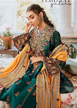 Mehak by Cross Stitch Embroidered Cotton Satin Unstitched 3 Piece Suit CS20M 08 Verdant Galore - Winter Collection