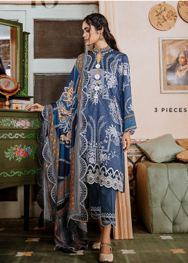 Mehak by Cross Stitch Embroidered Cotton Satin Unstitched 3 Piece Suit CS20M 10 Cerulean Hymn - Winter Collection