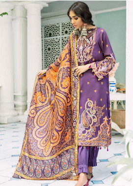 Mehak by Cross Stitch Embroidered Cotton Satin Unstitched 3 Piece Suit CS20M 11 Crown Jewel - Winter Collection