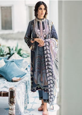 Mehak by Cross Stitch Embroidered Cotton Satin Unstitched 3 Piece Suit CS20M 14 Hazy Dusk - Winter Collection