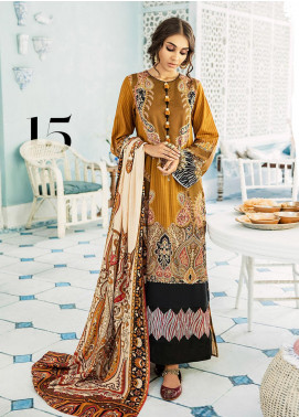 Mehak by Cross Stitch Embroidered Cotton Satin Unstitched 3 Piece Suit CS20M 15 Mustard Maze - Winter Collection