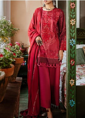 Mehak by Cross Stitch Embroidered Cotton Satin Unstitched 3 Piece Suit CS20M 16 Rio Red - Winter Collection