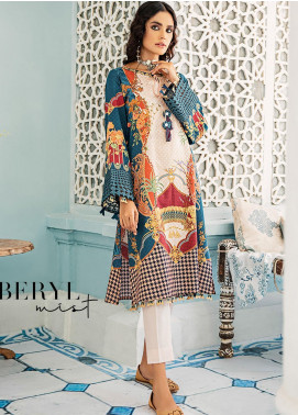 Mehak by Cross Stitch Embroidered Cotton Satin Unstitched 2 Piece Suit CS20M 18 Beryl Mist - Winter Collection