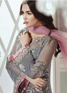 Baroque Embroidered Chiffon Unstitched 3 Piece Suit JZ18C 01 - Chiffon Collection