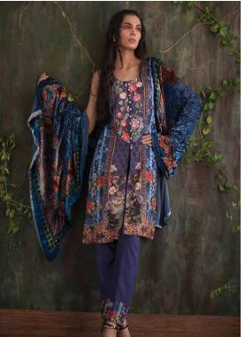 Deeba Embroidered Velvet Unstitched 3 Piece Suit DB17V 9B