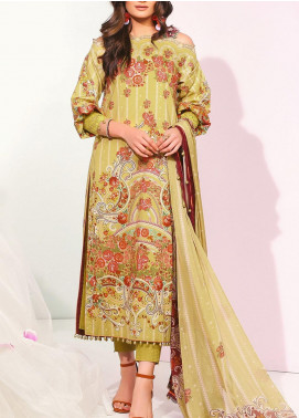 De La Rose by Al Karam Printed Cotton Satin Unstitched 3 Piece Suit AK20DR GF-02A-20-BEIGE - Summer Collection
