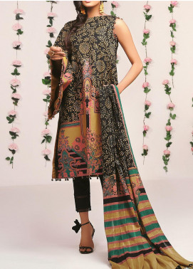 De La Rose by Al Karam Printed Cambric Unstitched 3 Piece Suit AK20DR GF-04B-20-BLACK - Summer Collection