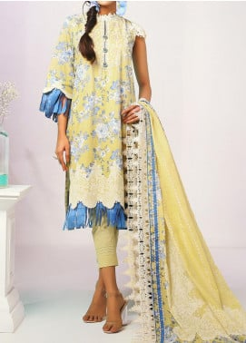 De La Rose by Al Karam Embroidered Lawn Unstitched 3 Piece Suit AK20DR GF-05C-20-LEMON YELLOW - Summer Collection