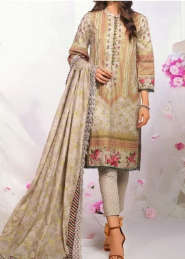 De La Rose by Al Karam Printed Lawn Unstitched 3 Piece Suit AK20DR GF-06C-20-BEIGE - Summer Collection