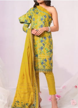 De La Rose by Al Karam Printed Lawn Unstitched 3 Piece Suit AK20DR GF-07D-20-YELLOW - Summer Collection