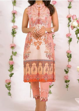 De La Rose by Al Karam Printed Lawn Unstitched Kurties AK20DR GF-12F-20-PEACH - Summer Collection